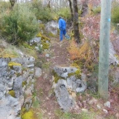 Chemin d'accès à St Symphorien, pose d'un escalier