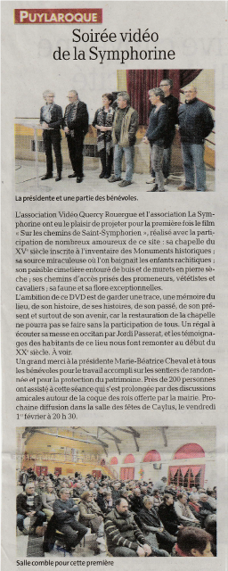 Article de presse dvd puylaroque